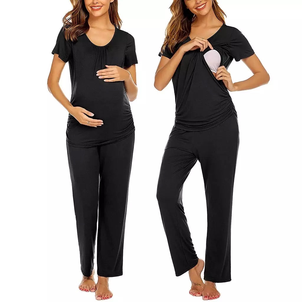 Fashionably Pregnant online UK maternity and nursing boutique specialists in maternity and nursing clothes. Hospital bag loungewear pyjamas pregnancy nightie nursing breastfeeding pyjamas black short sleeve Baby shower wedding guest and special occasion maternity dresses maternity tops jeans swimwear jumpers breastfeeding tops dresses gifts pregnant black