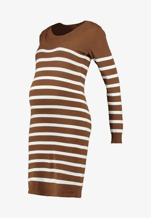 Fashionably Pregnant Online Maternity and Nursing Boutique U.K Free delivery. Specialists in Maternity and Breastfeeding fashionable clothes for pregnancy and beyond. Maternity Dresses, Maternity Tops, Special Occasion, Maternity Jeans, Baby Shower Dresses, Maternity Wedding Guest. UK based independent business mamalicious nursing breastfeeding jumper dress long sleeves winter warm brown stripe Newanga Stripe Maternity and Nursing Jumper Dress