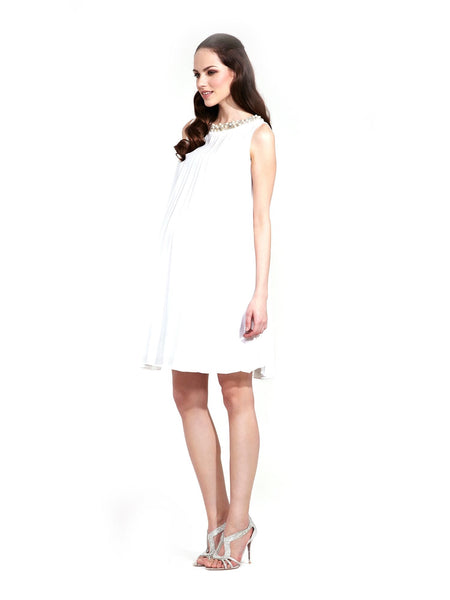 Rock a Bye Rosie Wendy Maternity Dress Mushroom/White