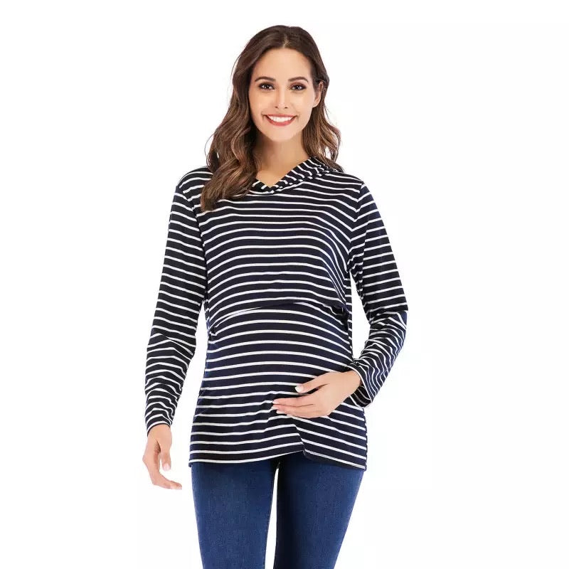 Striped Nursing Hoody Navy Blue