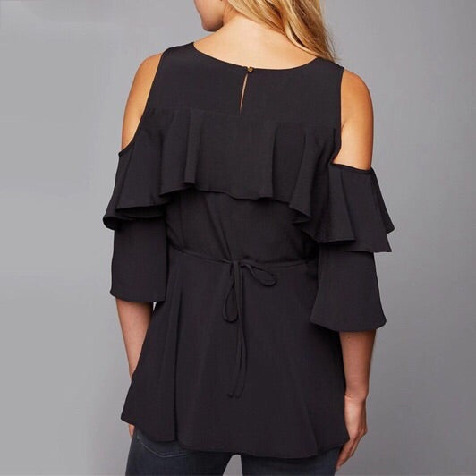 Cold Shoulder Frill Sleeve Black Maternity Top