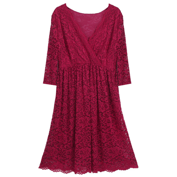 Lace 3/4 Sleeve Party Dress - Red