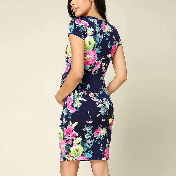 Floral Fitted Maternity Knee Length Dress Blue/Red