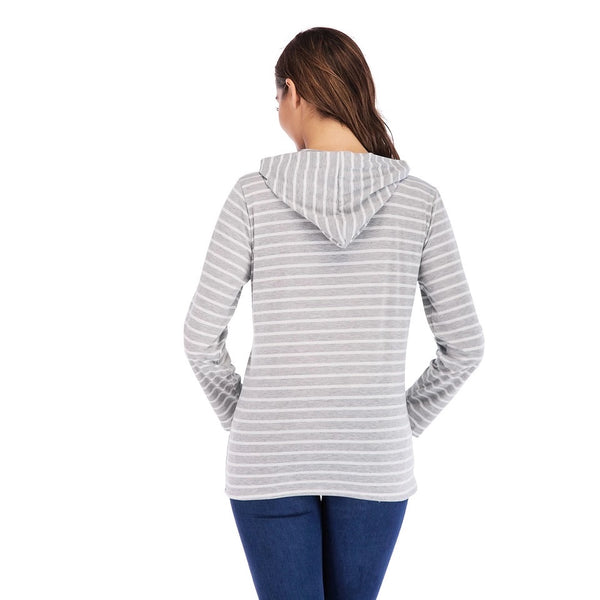 Striped Nursing Hoody Grey