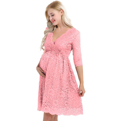 Lace 3/4 Sleeve Party Dress - Pink