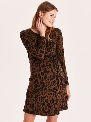 Leopard Print Maternity Knit Dress with Belt