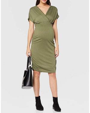 Fashionably Pregnant Mamalicious Maternity Casual Green Four leaf clover pilar khaki Evening Dress Special occassion, baby shower, wedding guest. U.K maternity and nursing boutique. Free UK delivery