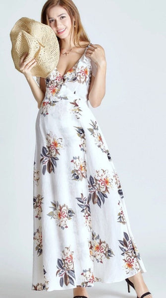Open Shoulder Flower Maxi Dress - Black/White