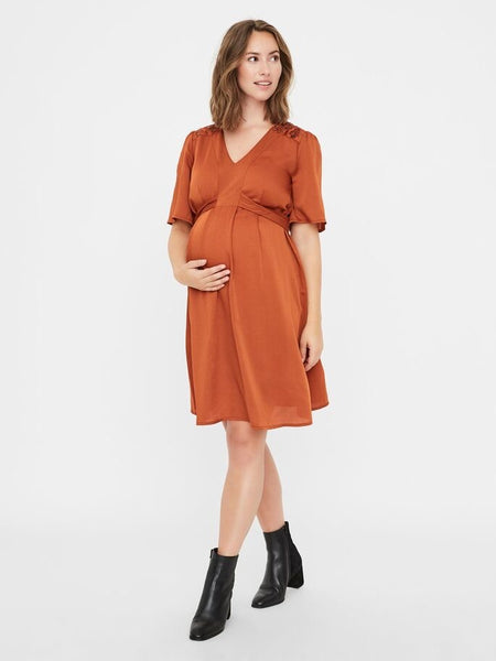 Fashionably pregnant maternity and nursing online boutique pregnancy and breastfeeding clothing specialists. Mamalicious orange short sleeve maternity evening dress pearl special occasion baby shower wedding guest uk free delivery