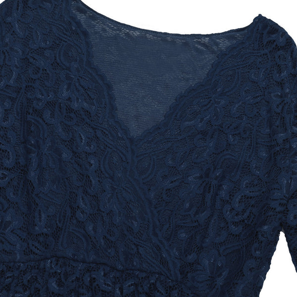 3/4 Sleeve Party Dress - Navy Blue