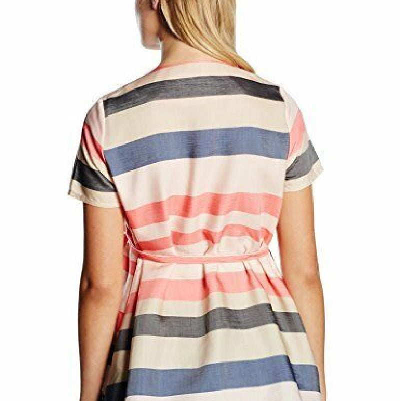Mamalicious Peach & Navy Stripe Maternity Top