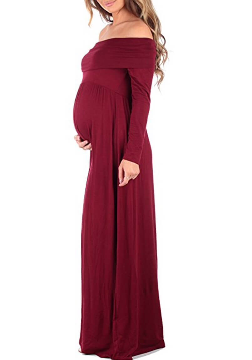 Fashionably Pregnant Red floor length dress with and without embellishment