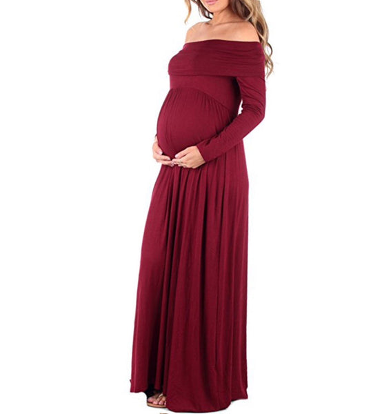 Off the Shoulder Maxi Dress - Red