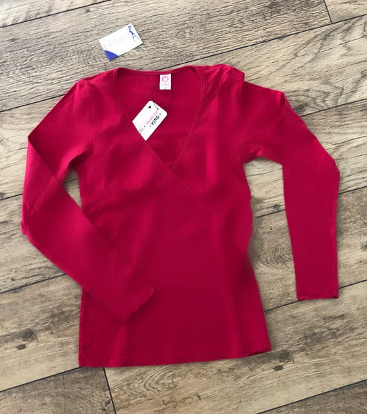 Fashionably Pregnant red long sleeve top back cotton breastfeeding nursing basic jersey