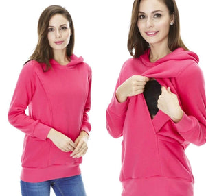 Maternity and Nursing Warm Casual Hoody - Pink / Blue