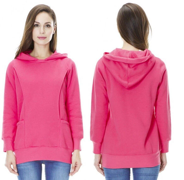 Fashionably Pregnant Pink Breastfeeding Nurding Winter Warm Hoody