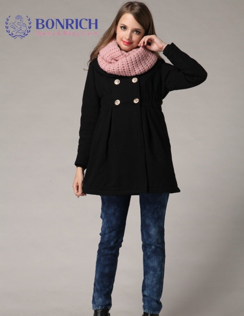 Black Winter Thick Warm Maternity Coat Hoody Double Breasted Pregnancy