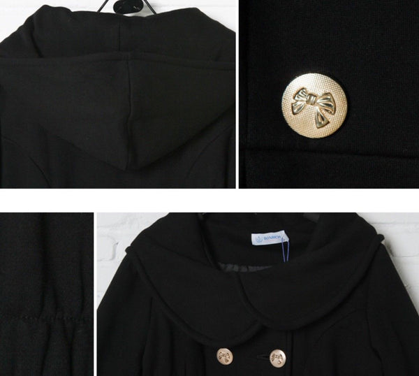 Double Breasted Winter Maternity Coat in Black