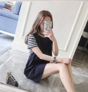 short sleeve nursing dress navy blue fashionably pregnant tshirt maternity