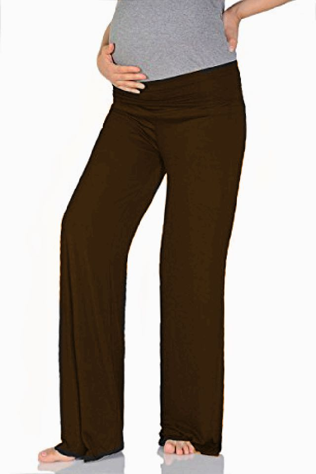 Maternity Over The Bump Yoga Pants - Brown
