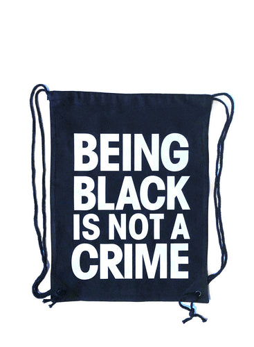 Being Black Is Not A Crime Cotton Canvas Drawstring Bag