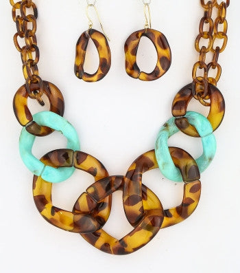 Leopard Chain Link Necklace Set