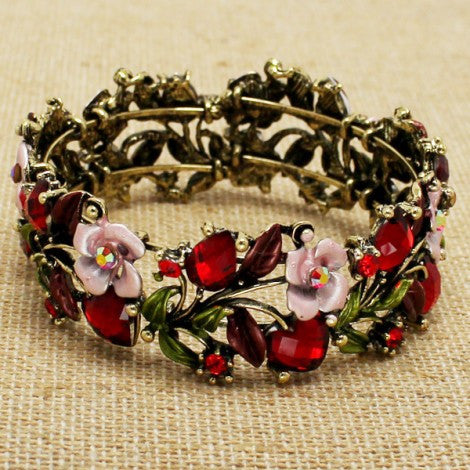 Antique Rose Bracelet - Red