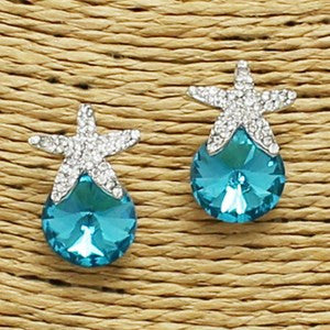 Starfish Sparkle Earrings - Turquoise