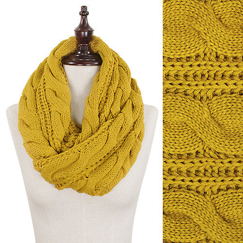 Cable Knit Scarf - Yellow