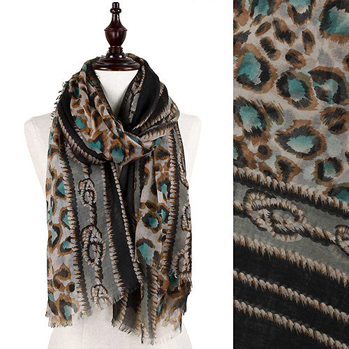 Leopard & Cable Scarf - Green