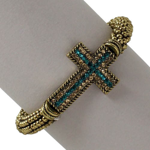 Antique Gold Cross Bracelet