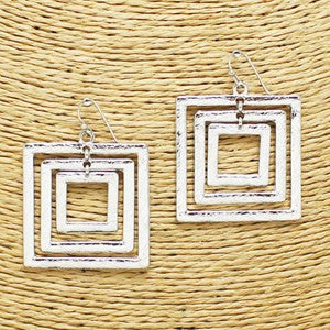 Four-Square Earrings (Silver and Gold)