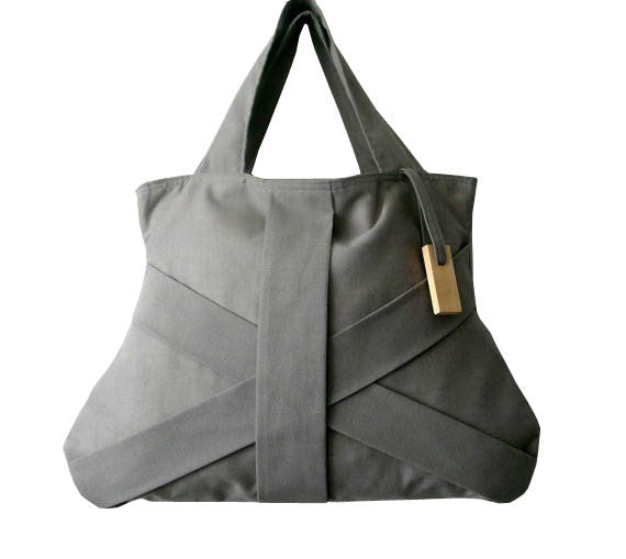 Grey Three Strap Bag