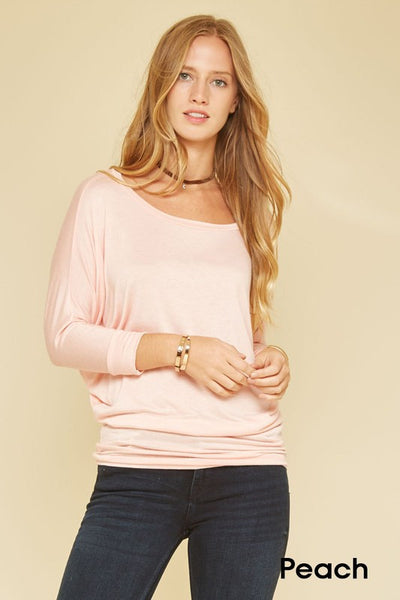 Dolman Tee (available in light peach and lime)