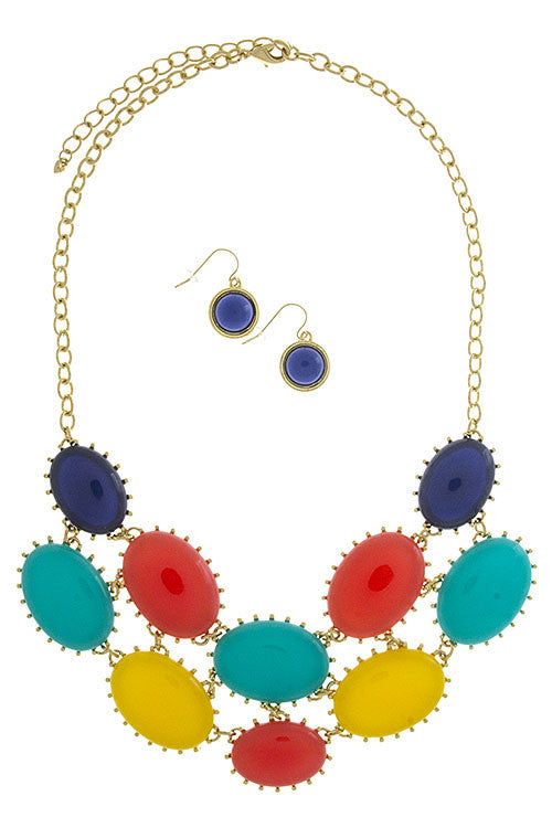 Multicolored Layered Necklace Set