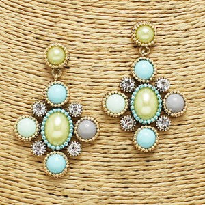Antique Elaborate Earrings - Mint