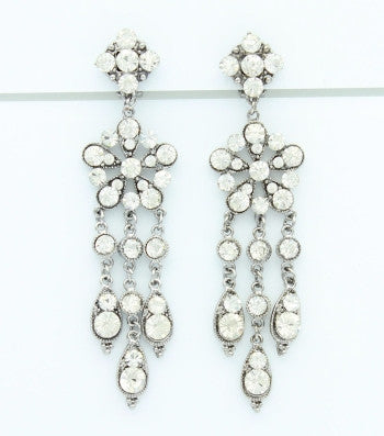 Crystal Princess Clip On Earrings
