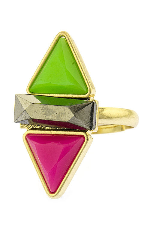 Double Triangle Jewel Ring
