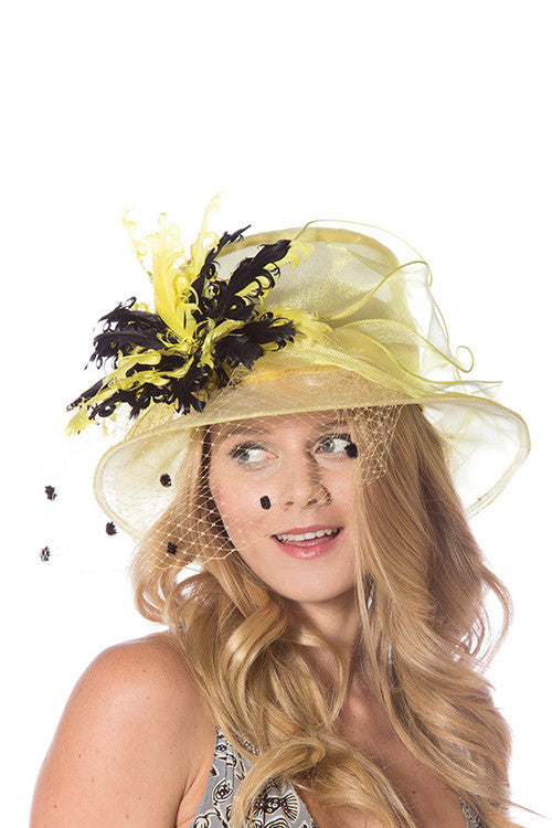 Feather Flower Detail Hat (available in yellow and red)