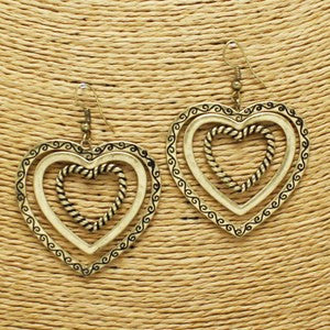 Heart Pendant Earring (Gold and Silver)