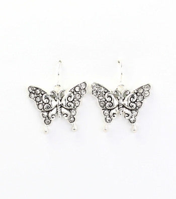 Rhinestone Studded Butterfly Earrings