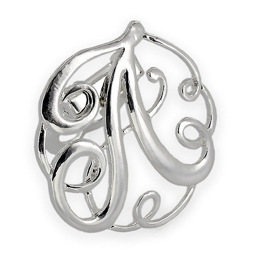 Monogram Initial Scarf Clip - Silver Plating (Other Letters Available)