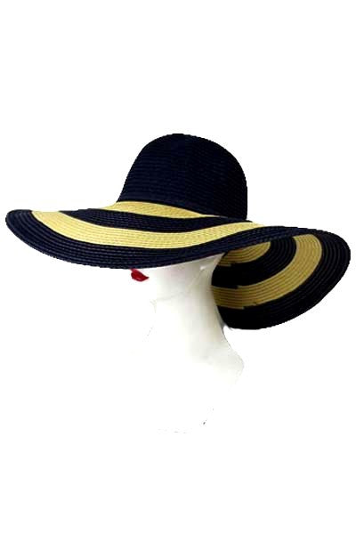 Striped Sun Hat - Navy