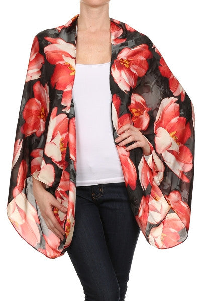 Floral Shawl - Red