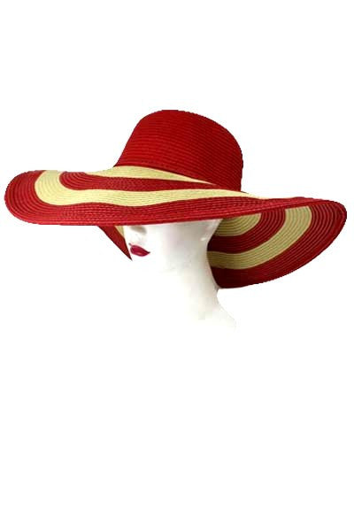 Striped Sun Hat - Red