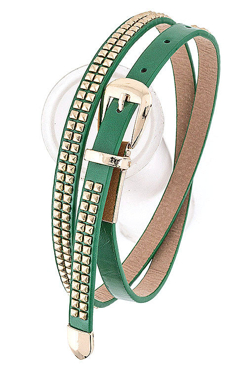 Thin Stud Belt - Green
