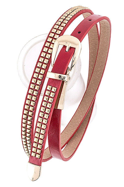 Thin Stud Belt - Red