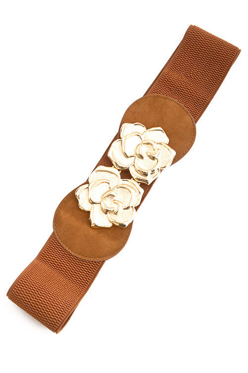 Two Flower Buckle Belt - Brown