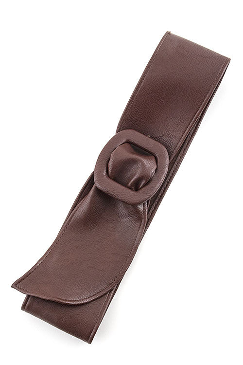 Wide Faux Leather Belt - Dark Brown