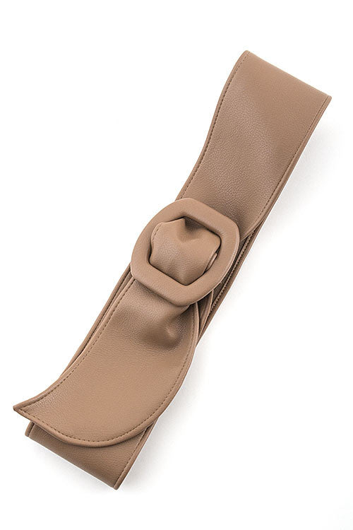Wide Faux Leather Belt - Light Brown